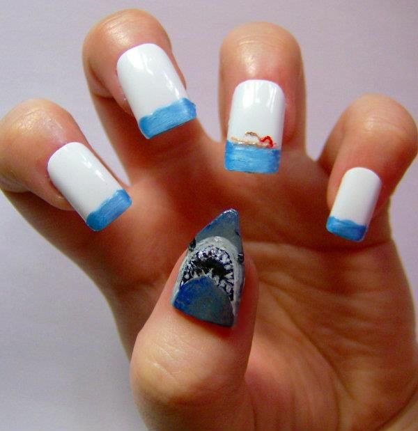 Jaws Horror Movie Nails Nailed It Halloween Nails Pinterest