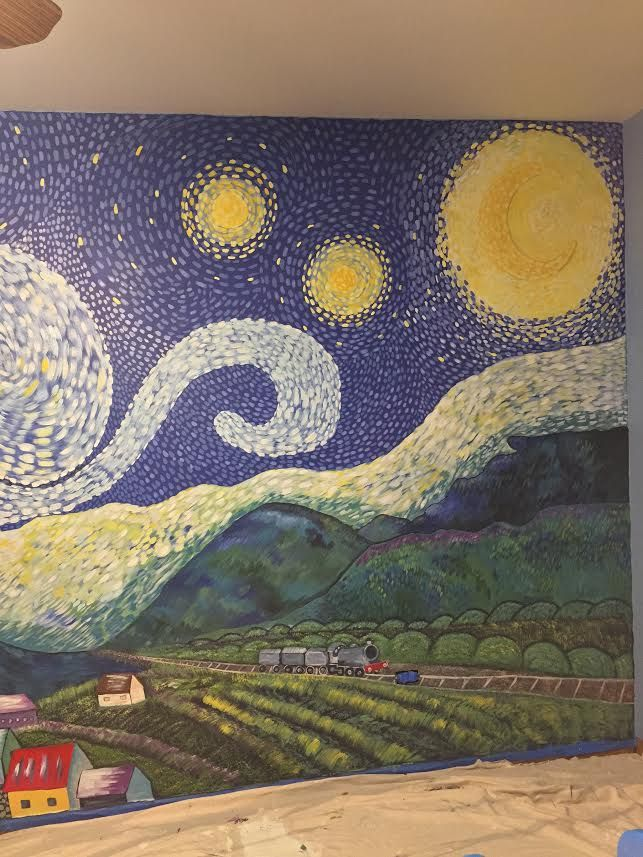 Liamu0027s Bedroom Wall Mural Painted By Me. My Version Of Van Goghu0027s Starry  Night. Part 60