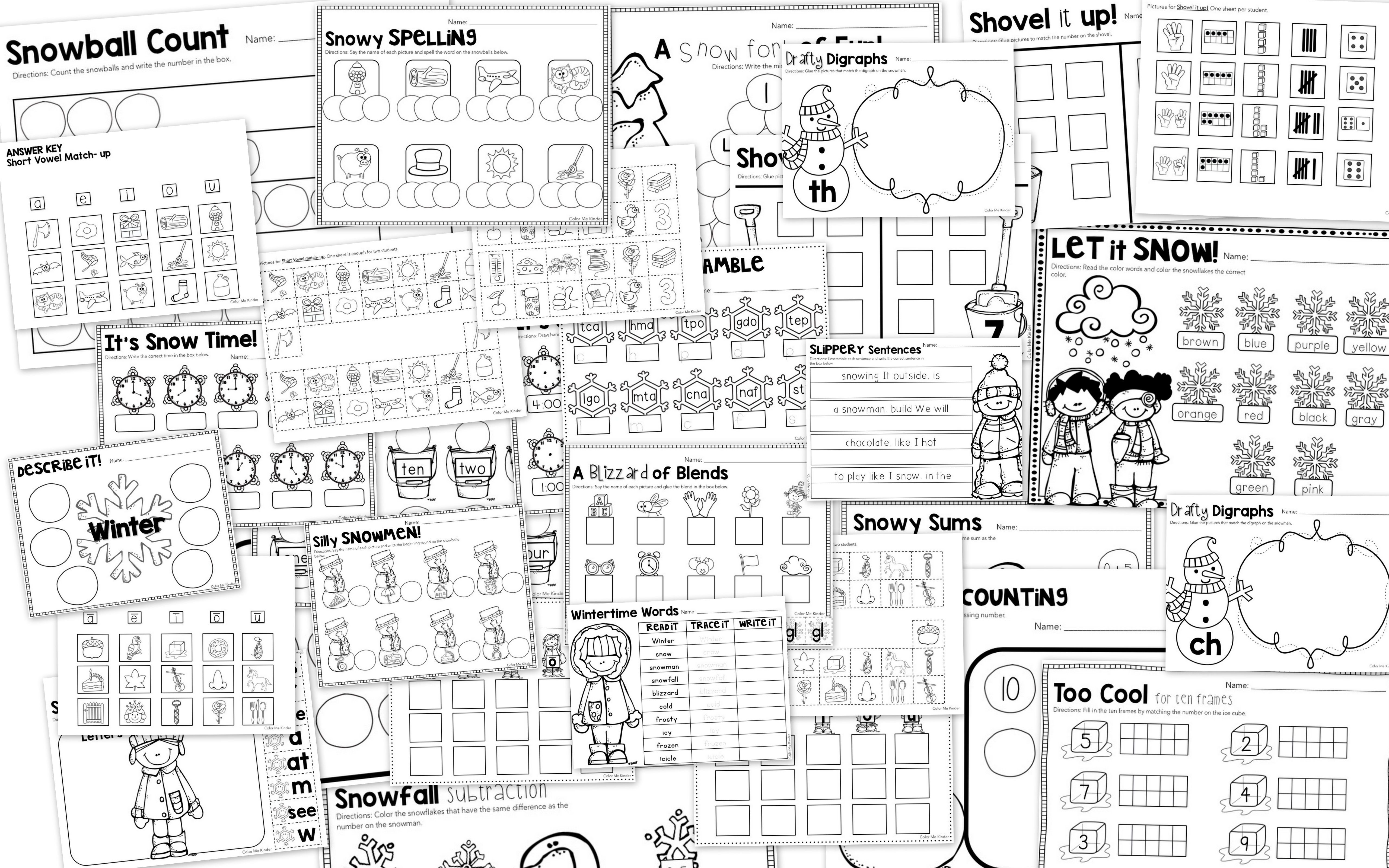 50 Winter Themed Math Amp Ela Worksheets For Kinder 1st