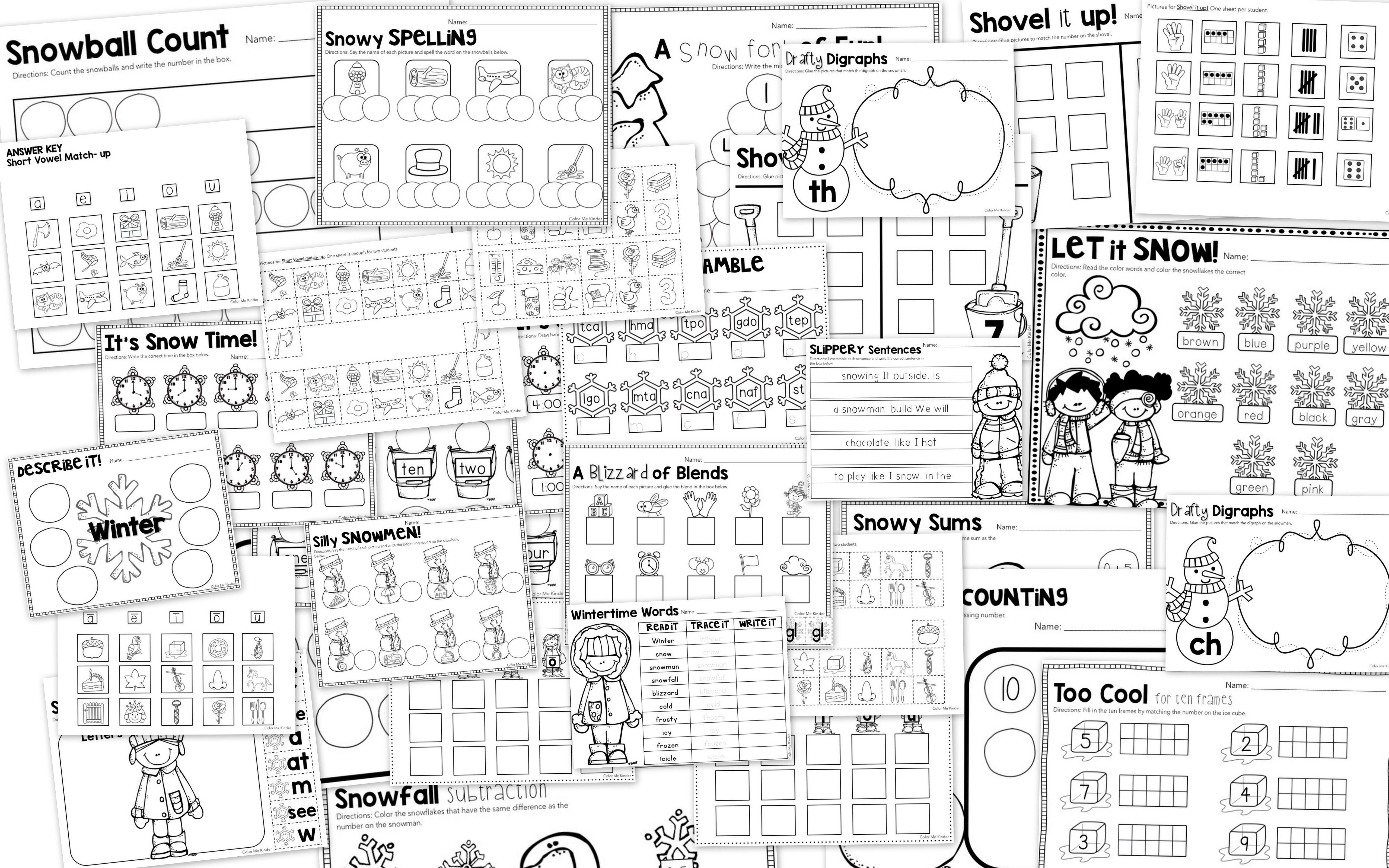 50 Winter Themed Math Amp Ela Worksheets For Kinder 1st