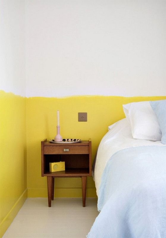 Paint Trends 2018 Most Popular Colors This Season Half Painted Walls Yellow Bedroom Decor Trending Decor