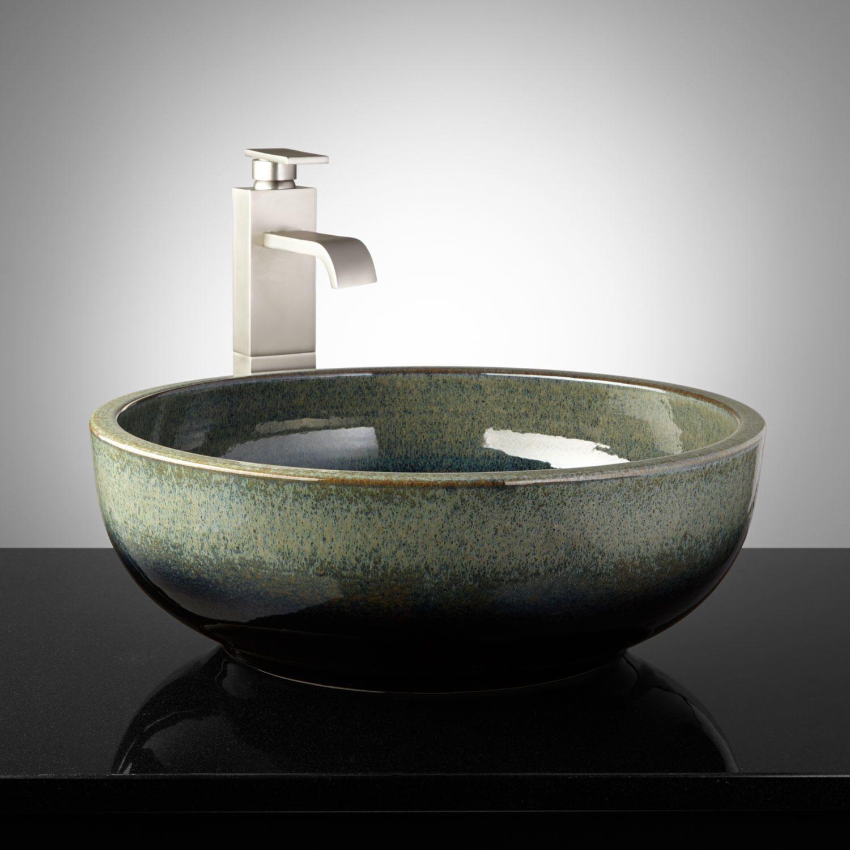 Yeary Hand Glazed Pottery Vessel Sink Midnight Blue Pottery