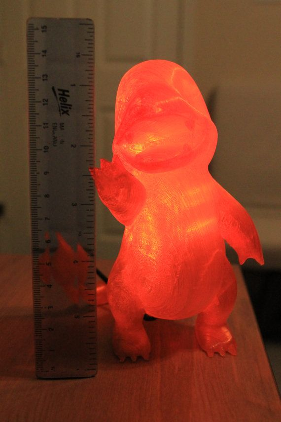 Charmander Lamp 3d Printed Pokemon Nightlight With Red Etsy Orange Led Lights Pokemon Prints