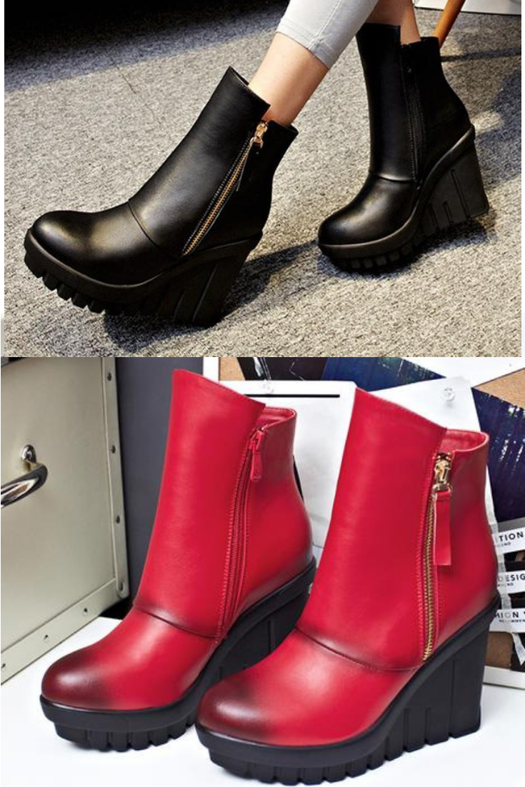 e2f83782e0c9 Platform Heel Ankle Boots