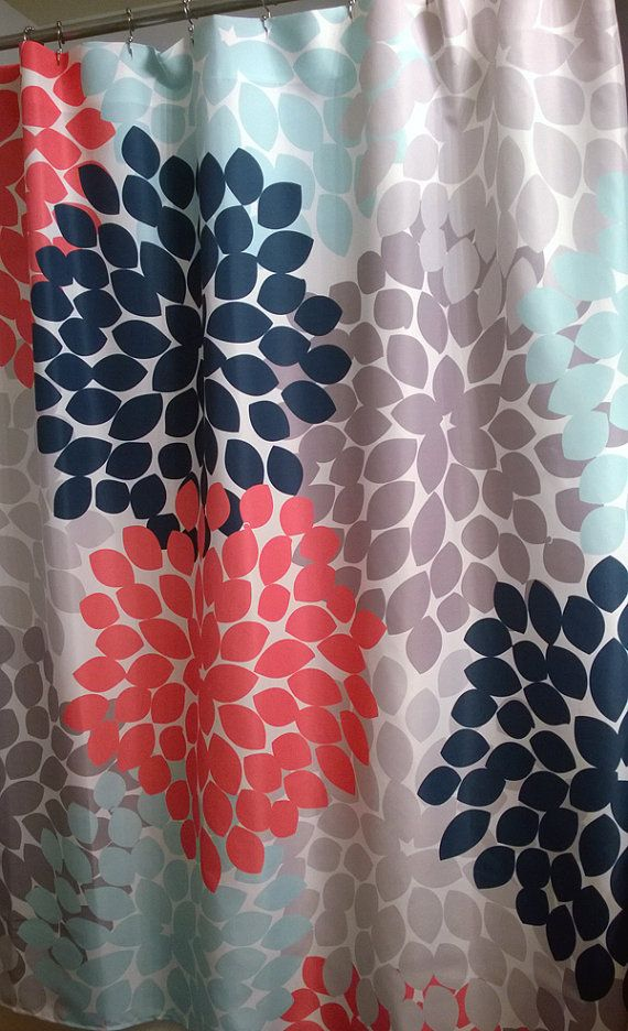 Shower Curtain In Navy Coral Pink Aqua Gray Floral