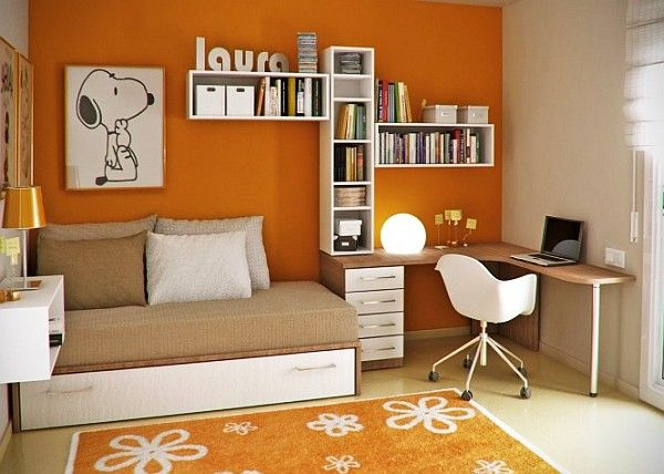 furniture for teenager. Young Childs Room - Orange Walls, White And Wooden Accents Furniture For Teenager