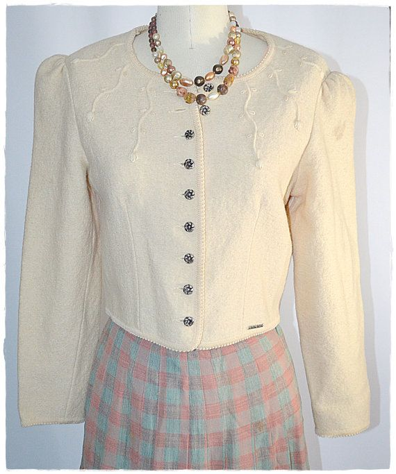 Vintage Ivory Boiled Wool Tyrolean Jacket by ChrisMartinDesigns
