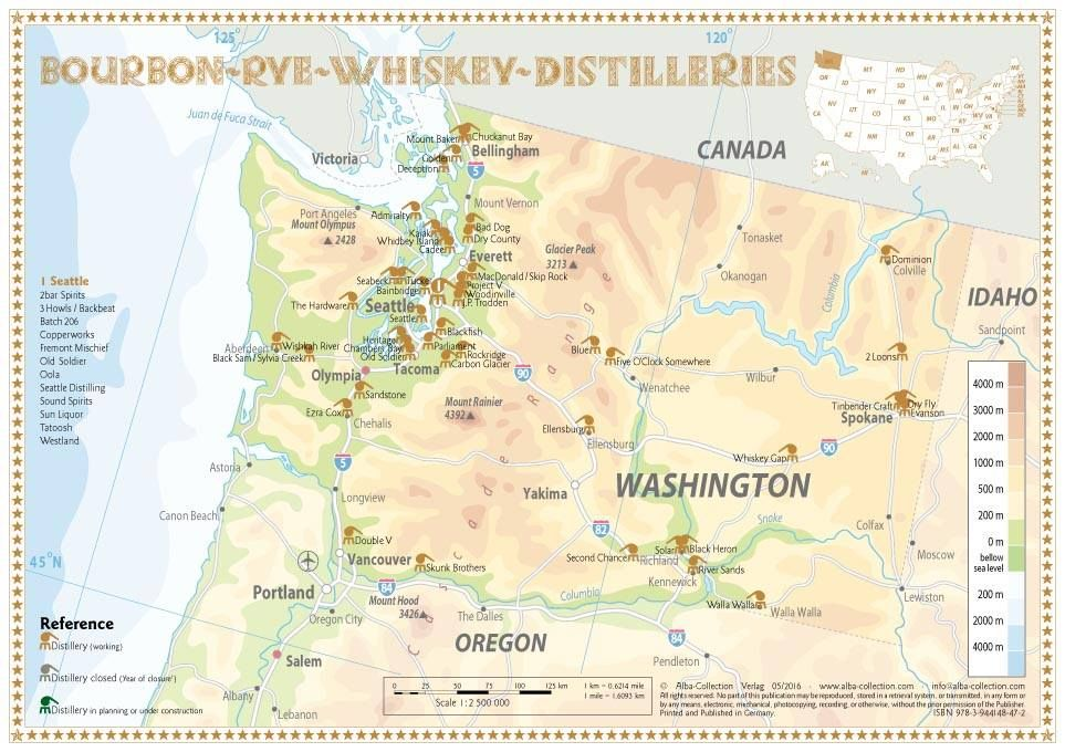 Whiskey Distilleries Washington Tasting Map 34x24cm Landkarte