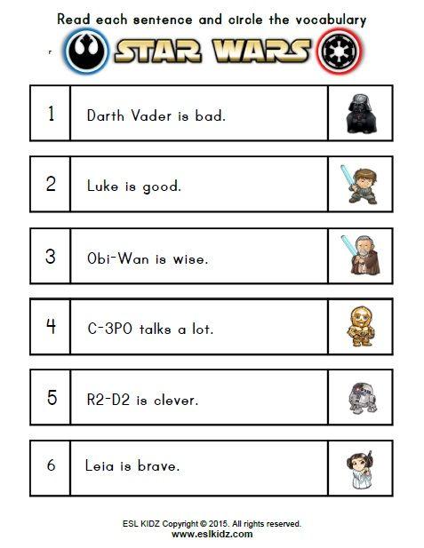Pin By Eslkidz On Star Wars Activities For Kids Kindergarten Worksheets Sight Words Math Worksheets Free Kindergarten Reading