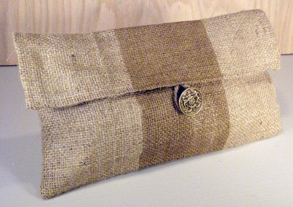 Gifts Under 20 - Burlap Clutch with Metallic Gold Stripe and Brown Quatrefoil Liner- SALE - FREE SHIPPING