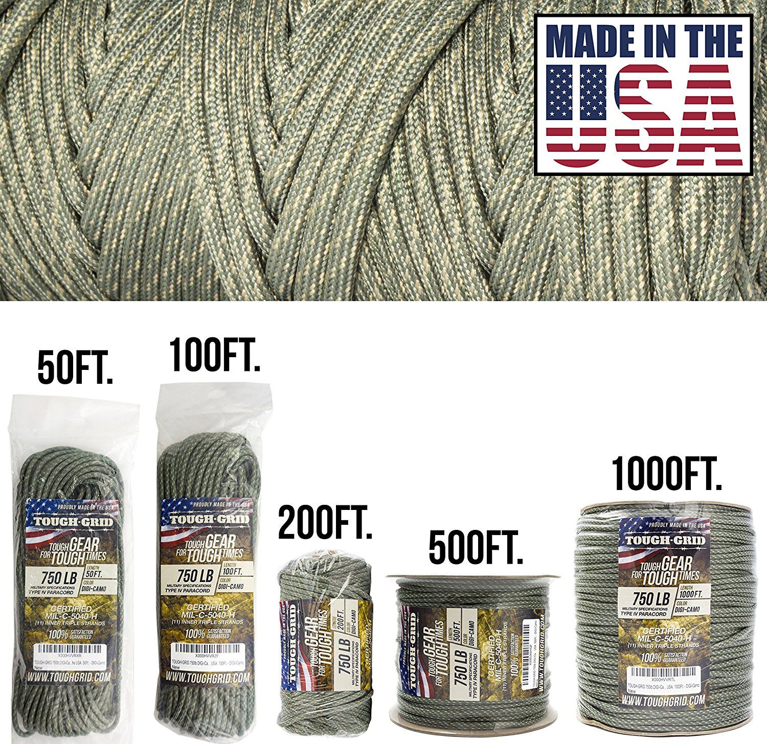 Made In The USA. Genuine Mil Spec Type IV 750lb Paracord Used by the US Military TOUGH-GRID 750lb Paracord//Parachute Cord - 100/% Nylon MIl-C-5040-H