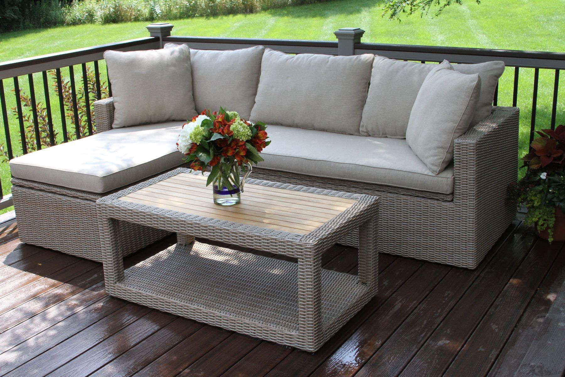 3 Pc Teak Ash Grey Wicker Corner Sofa Set With Waterproof Storage Compartment Inside The S Outdoor Furniture Cushions Garden Sofa Set Used Outdoor Furniture