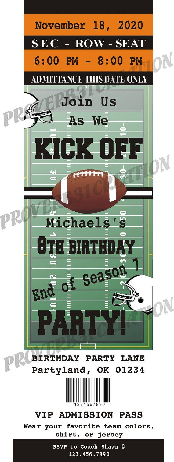 printable football ticket invitation diy for by proverb31creation