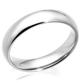 Engravable Mens Comfort Fit 5mm 14k White Gold Wedding Band Ring