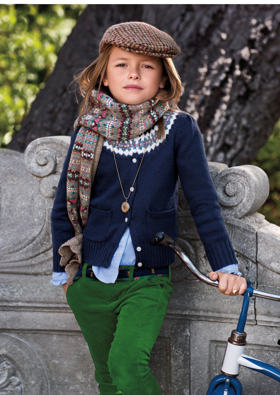kelly cords, fair isle sweater, button down shirt, locket.  ralph lauren children's collection.