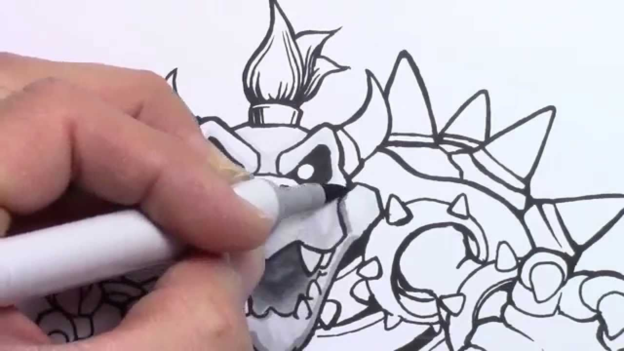 How to draw Dry Bowser First time using Copic Markers