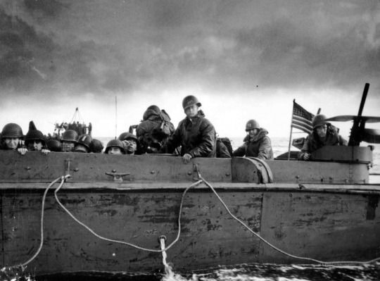 US Marines prepare to storm the beach of Normandy; June 6, 1944