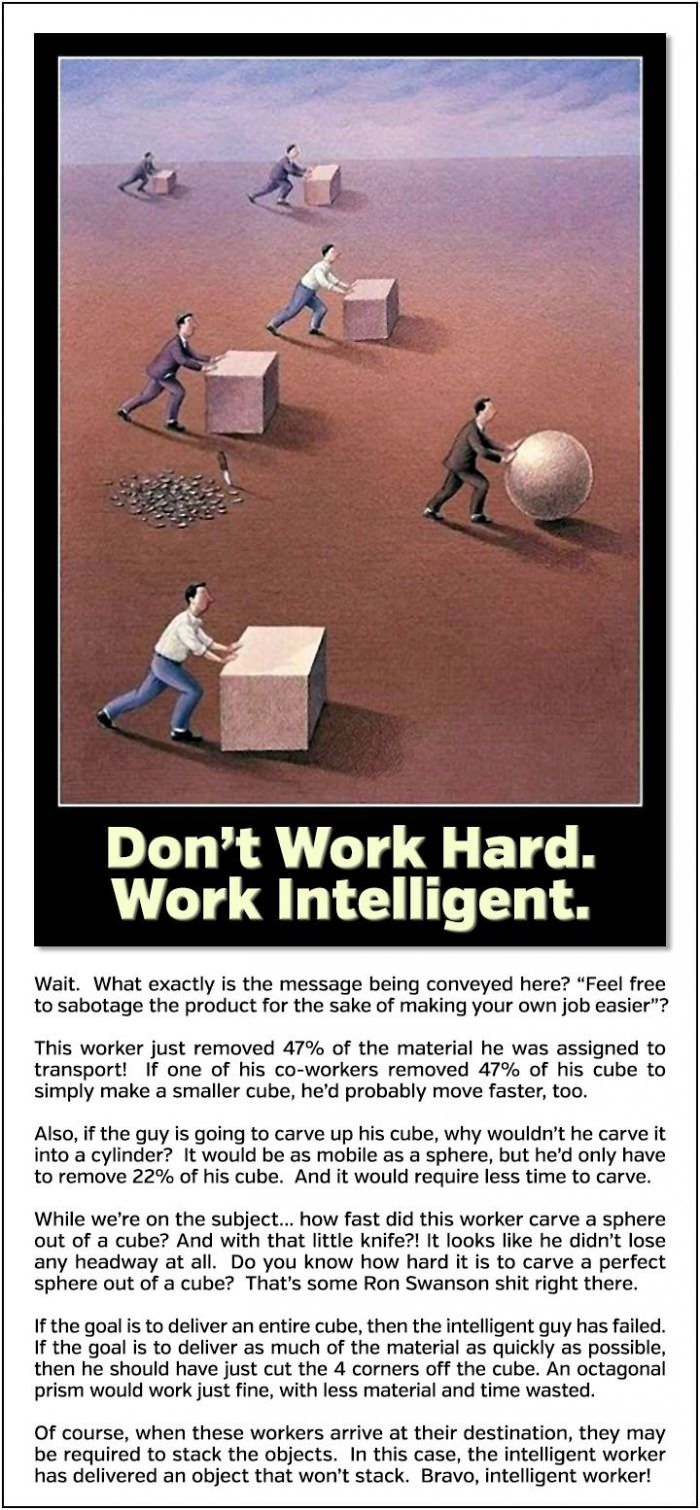 Don't work hard. Work intelligent.