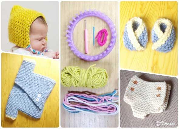 Bebé con telar circular. Aprender a tejer desde casa, ganchillo a 0 ...
