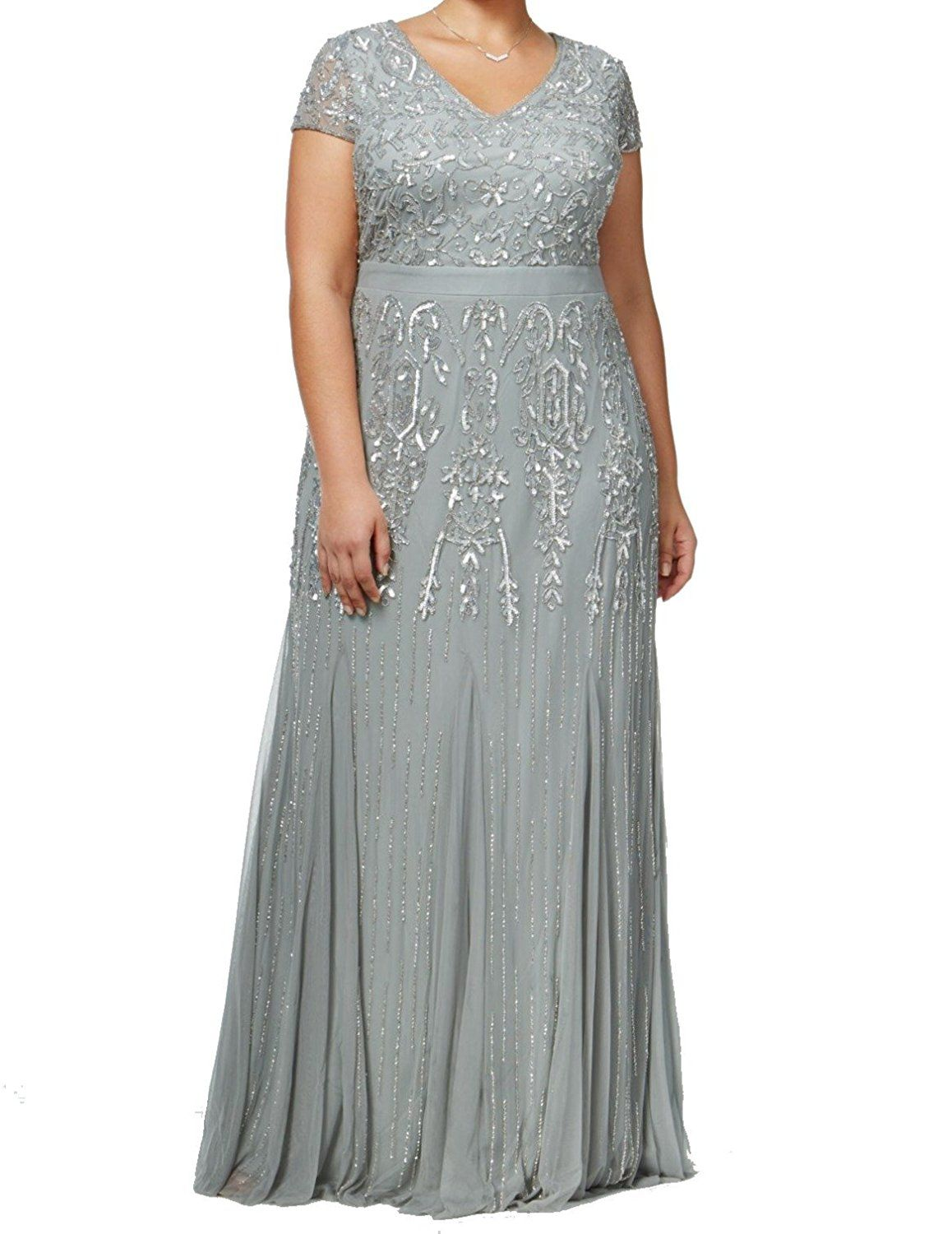 a87c70986c48 Plus Size Wedding Guest Dresses - Adrianna Papell Plus Size Beaded V-Neck Evening  Gown Dress (sponsored)