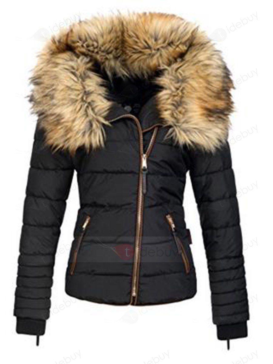 online store 4d5dc 5b1df Kurz Winter Parka Mit Schief Zip Pelzmantel Daunenjacke ...