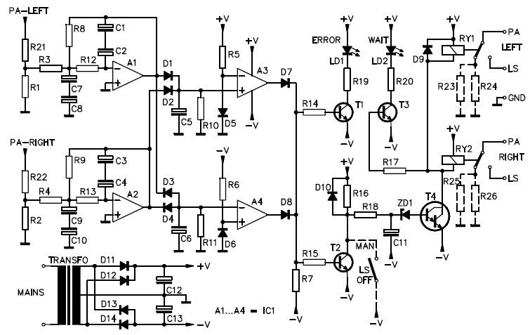 this is the stereo speaker protection circuit  provides