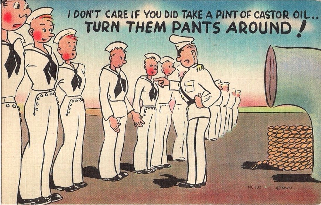Vintage Postcard Comic - Military Comedy
