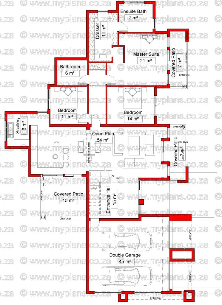 4 Bedroom House Plan Mlb 075d My Building Plans House Plans South Africa 4 Bedroom House Plans Single Storey House Plans