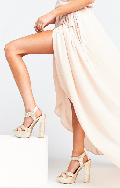 d262ee35a7b4 All That Glitters Platform Heels ~ Champagne #http://shopstyle.it/