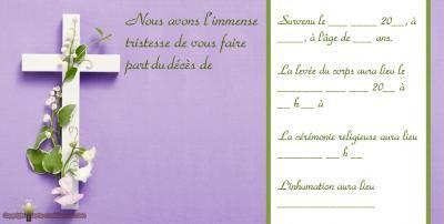 Faire Part Deces Gratuit A Imprimer Croix Fleur Violet Carte Condoleances Gratuite Faire Part De Deces Carte De Deuil Carte De Remerciement Deces