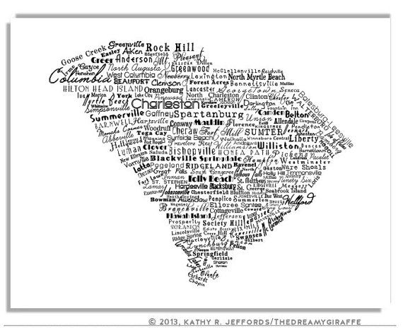 South Carolina Is Made Of Cities And Towns Typography Map ...