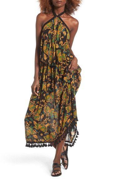 Tropical Paradise Print Maxi Dress