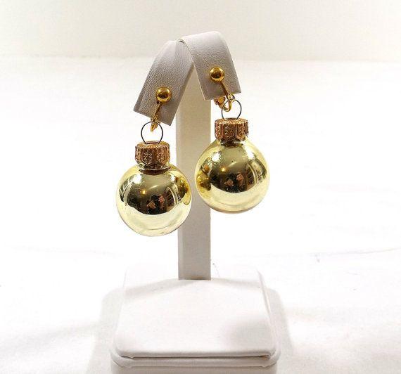 Christmas Gold Ball Ornament Clip On Earrings by KatsCache on Etsy