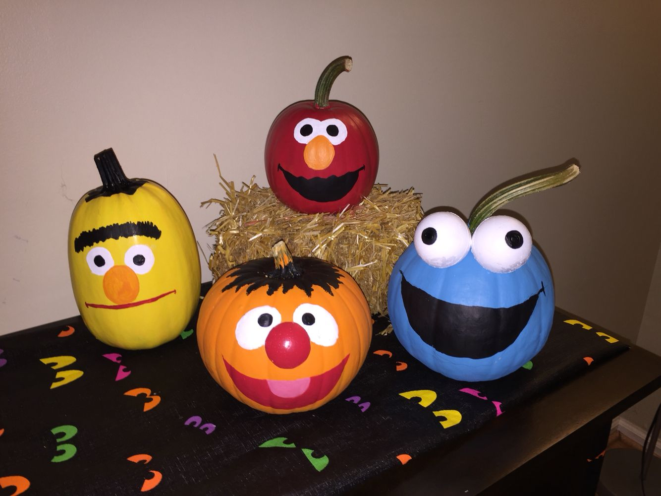 painted sesame street pumpkins for the babys 1st halloween