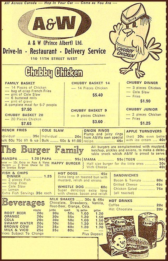 a w restaurant s menu canada circa 1960 70s you ve got to love