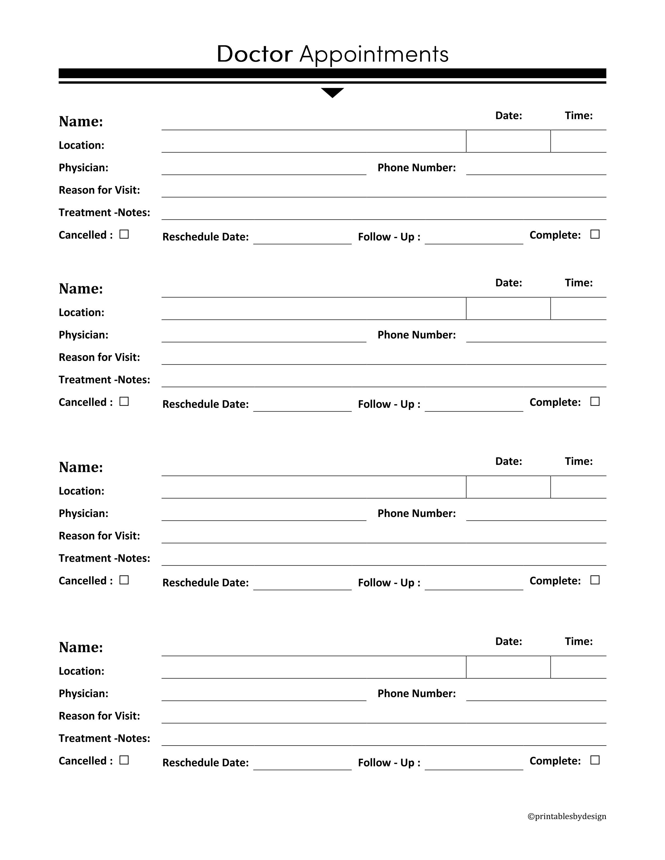 Doctor Appointments This Also Comes In A Blue Landscape Medical Appointment Version Perfect F Doctor Appointment Free Printables Organization Doctor Visit