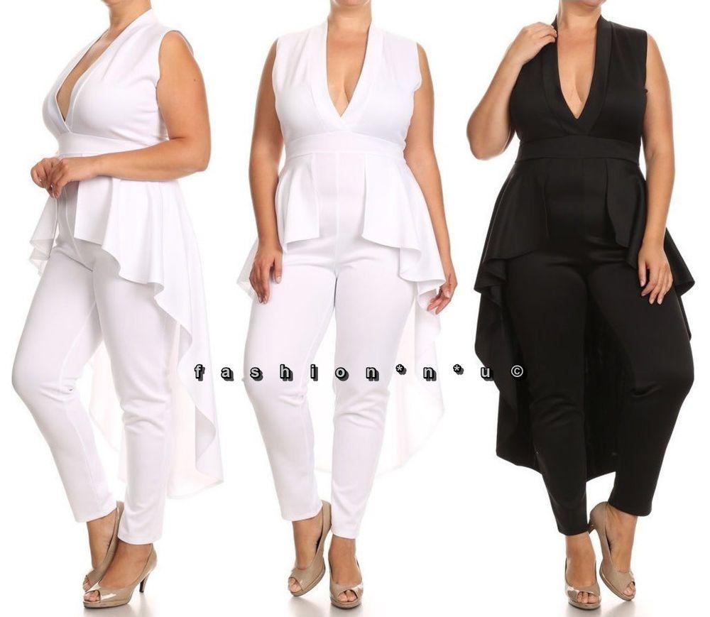 5d87aa7e2b4 Sexy Hi Lo Cascade Peplum Dress Jumpsuit Skinny Leg Bodysuit Dance Clubwear   LACouture  Jumpsuit