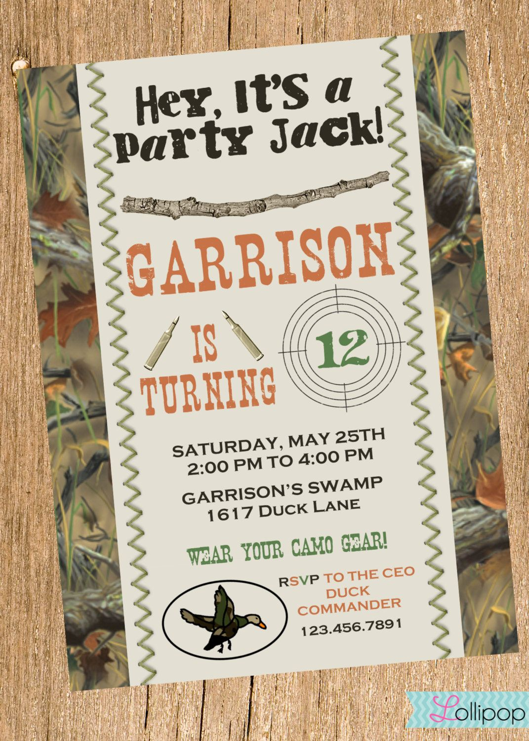 Duck Dynasty Inspired Printable Invitation by LollipopInk on Etsy, $13.50 Camo Birthday Party, Camo