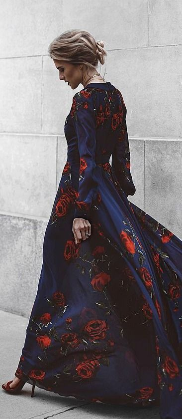 c0b57d765a0e Blossom Buddy Red and Navy Blue Floral Print Maxi Dress