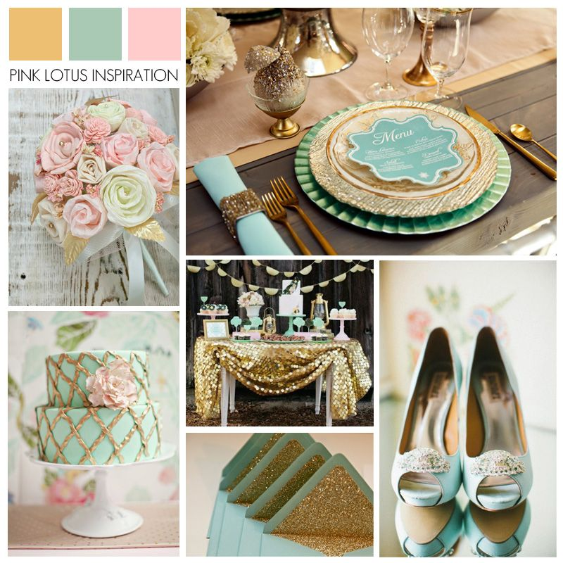 Color Board Gold Mint And Rose