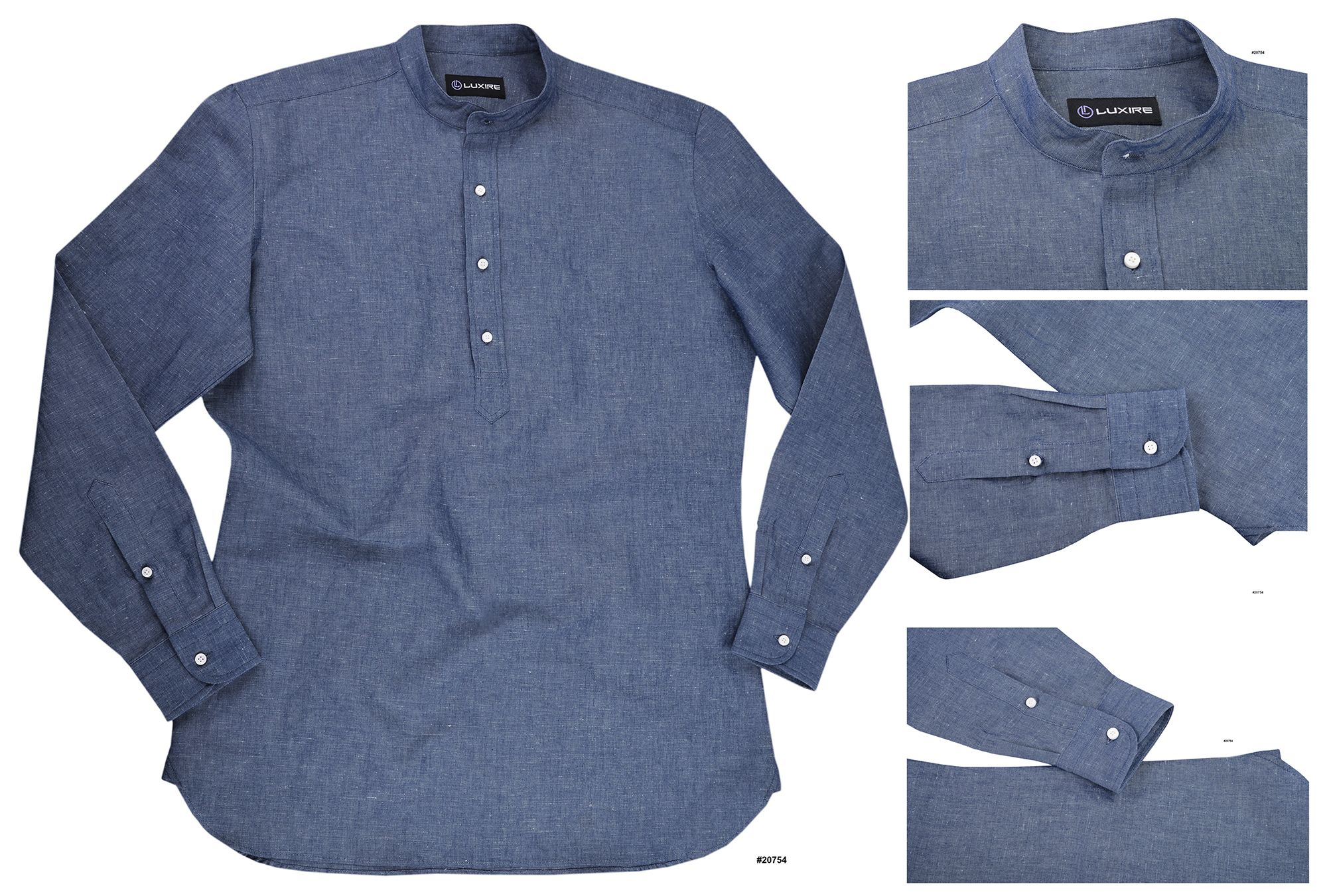 Washed Indigo Linen Chambray Luxire Shirts Shirts Chambray