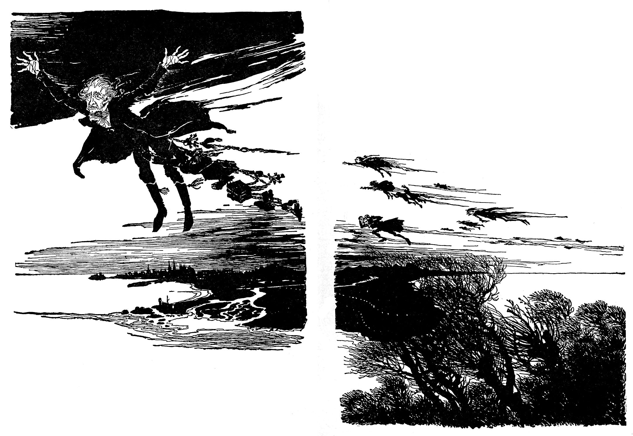 "On the wings of the wind. Double page illustration by Arthur Rackham from ""A Christmas Carol"" (1915)"