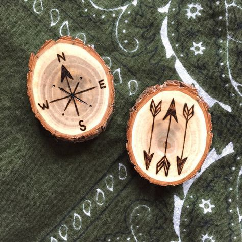Compass Or Arrows Wood Burned Magnet On Small By Forageworkshop