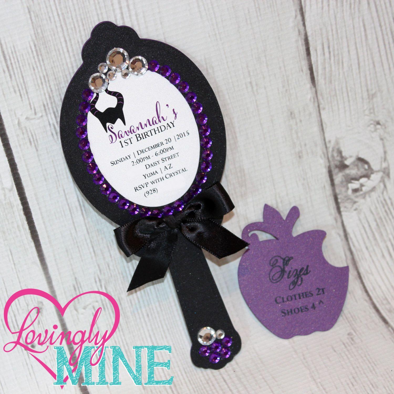 Disney Maleficent Inspired Invitations Sparkle Black Cardstock