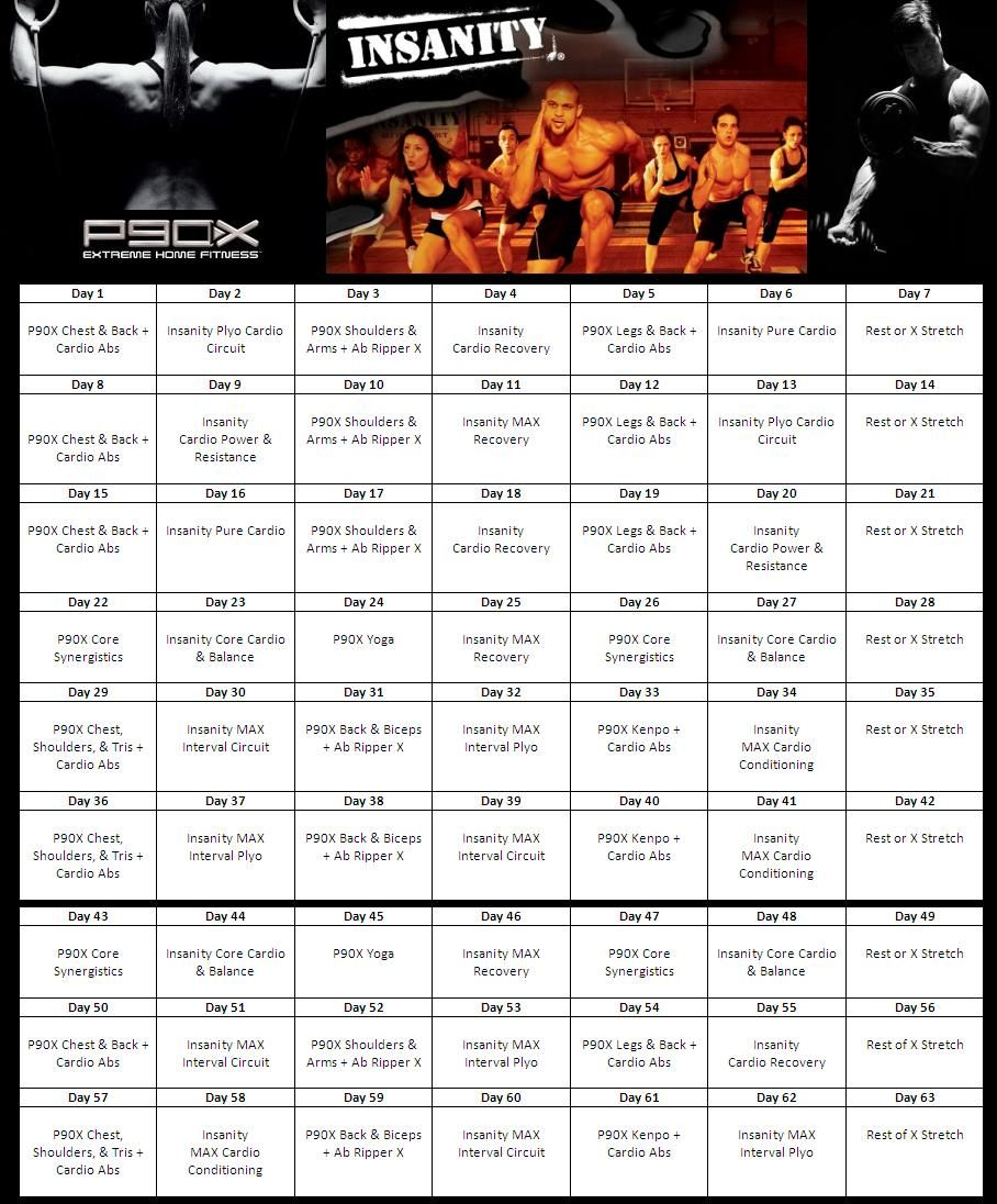 Insanity & P90X Hybrid Calendar | Fitness Routing | Workout ...