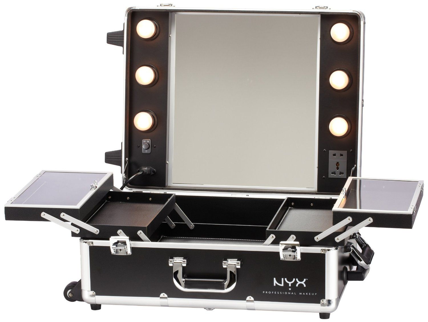 best lighting for makeup vanity. rectangle mirror with lamps beside combined folding shelves on the make up suitcase captivating makeup vanity table lighted for your best lighting