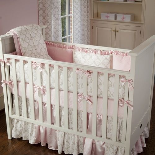 3e3470de232a8 Pink and Taupe Damask Baby Crib Bedding | Did someone say BABY ...