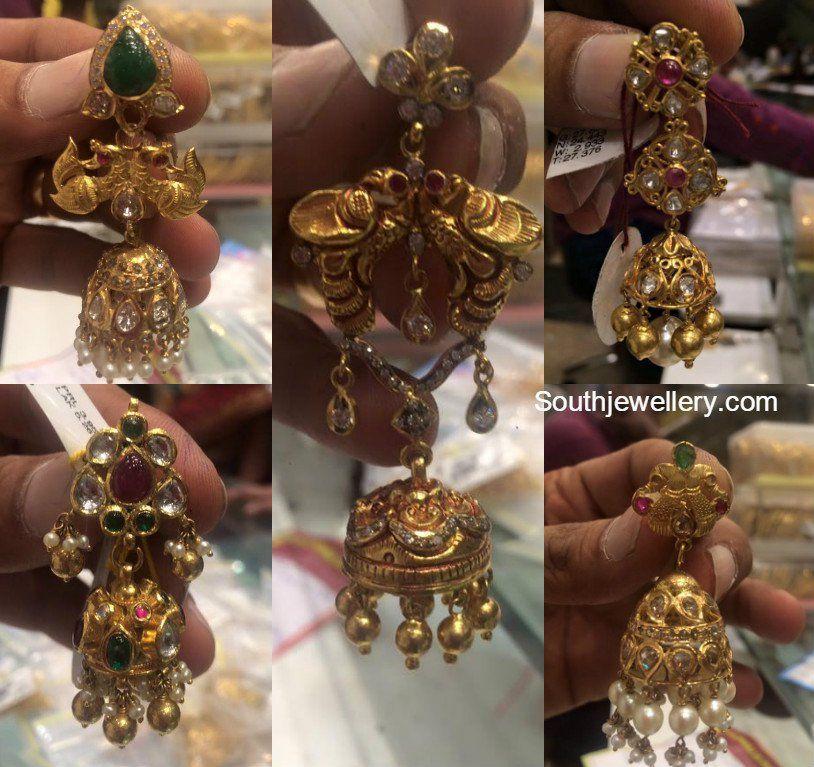 Antique Gold Jhumkas | Jhumkas | Pinterest | Antique gold, Gold ...