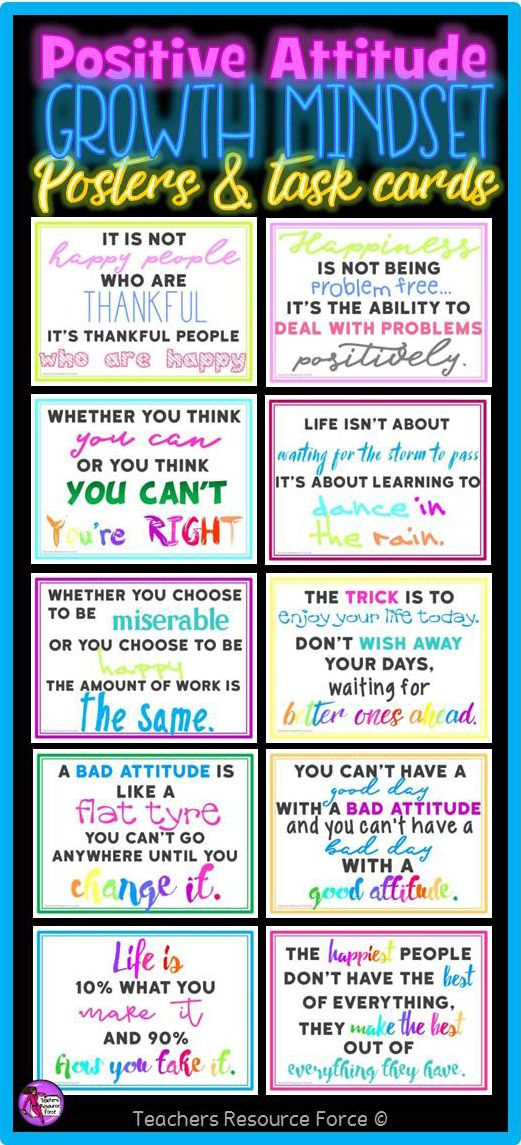 Could Growth Mindset Help Teens Cope >> Positive Attitude Growth Mindset Task Cards Posters And Coloring