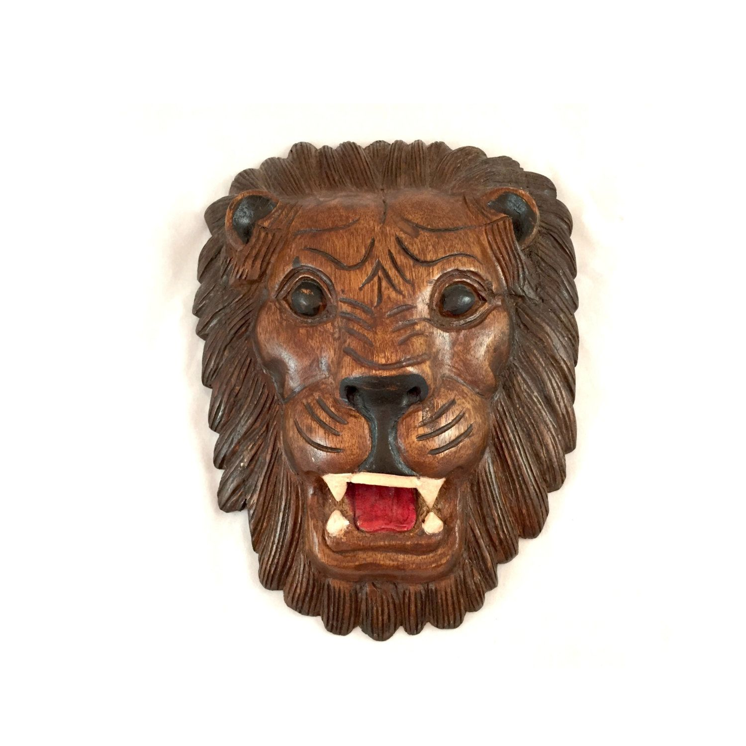 Wooden Hand Made Lion Head Wall Decor Carved Lion Face Wall Plaque